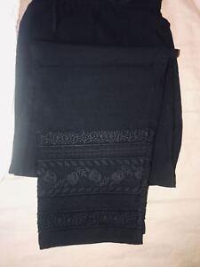 7ae39f5bbd Image is loading Ladies-Black-Trouser-Pakistani-Indian-Pencil-Cigarette -Straight-