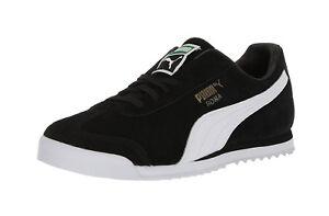 Detalles de Puma Roma Negro Blanco Gamuza Moda Con Cordones Zapatillas  atléticas Zapatos hombres adultos- ver título original