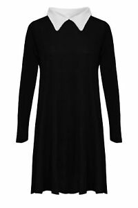 WOMENS-PETER-PAN-SWING-DRESS-COLLARED-AADAMS-FAMILY-TOP-FLARED-PLUS-SIZE-JERSEY