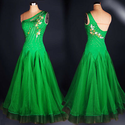 Latin Ballroom Dance Dress Modern Salsa Waltz Standard Long Dress#FM084 Green