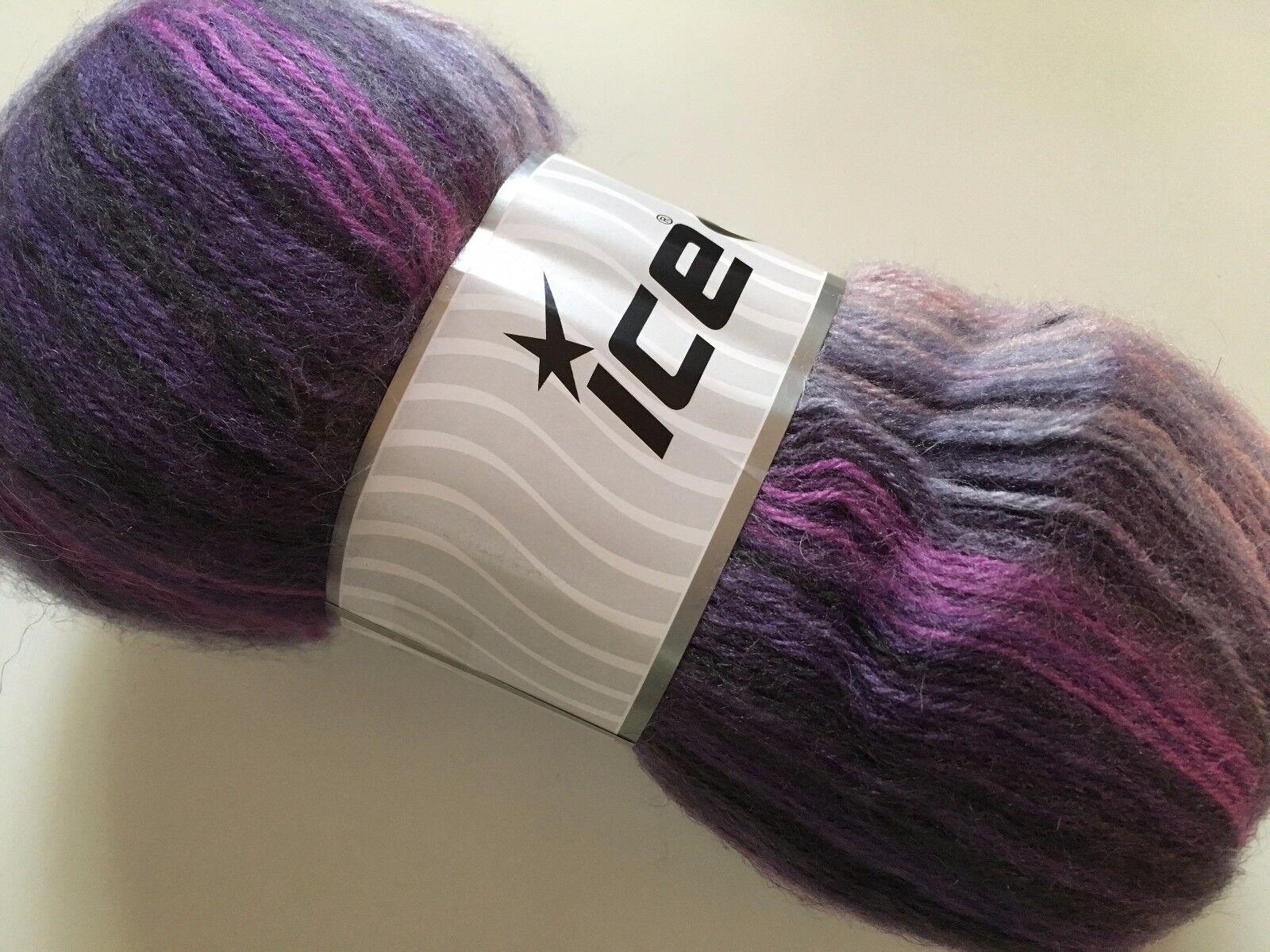 100gr Angora Active Twilight Haze 57796 Lilac Purple Grey Sport Yarn Stripe 546y