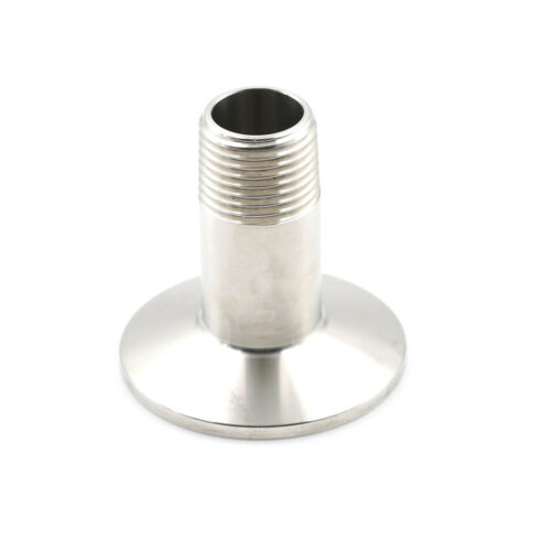 """1//2/"""" Sanitary Male Threaded NPT Ferrule Pipe Fitting to 1.5/"""" TriClamp SS30RSDE"""