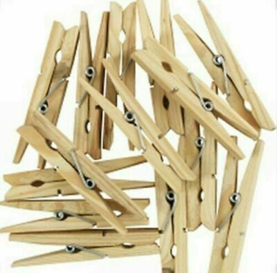 96 Wooden clothes pegs,washing line wood peg gardens airer-dry 1 Free Pegs Bag