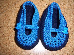 Babyschuhe Ballerina dunkelblau handgehäkelt aus Baumwolle für Frühling/Sommer