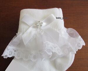 GIRLS FRILLY ANKLE SOCKS WHITE IVORY FRILL BOW DIAMANTE BABY CHRISTENING WEDDING