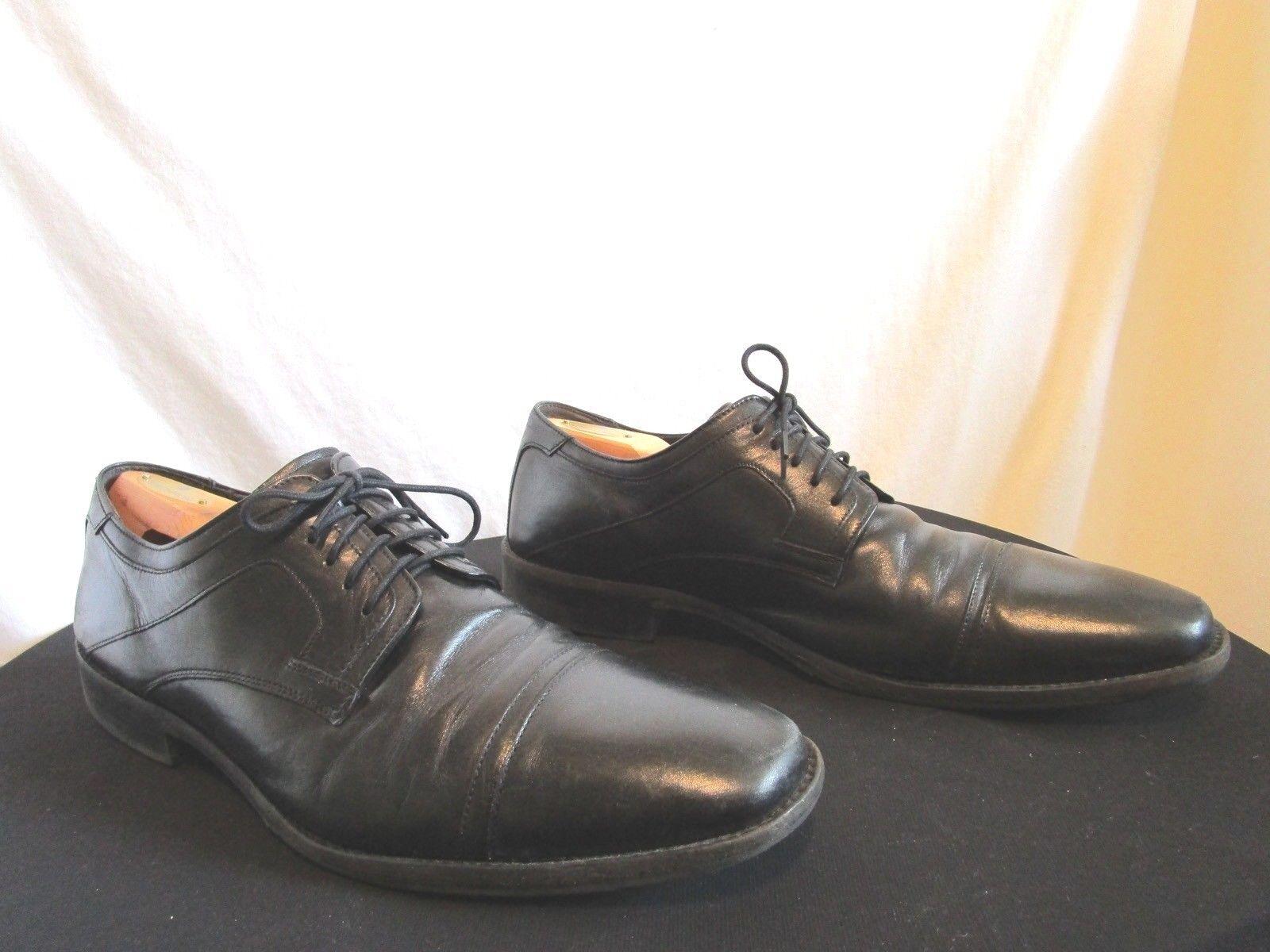 Johnston And Murphy Black Leather Cap Toe Oxford Dress Shoes Men's Sz 13 M