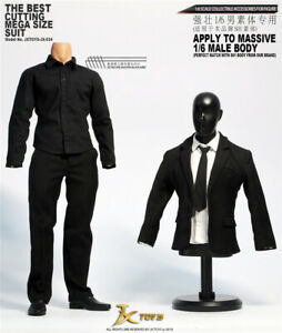 """JXTOYS-034 1//6 Male Black Suit Clothing Access Toy Fit 12/"""" Muscular Figure Body"""