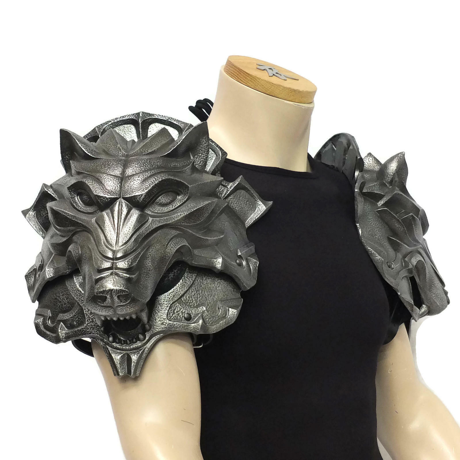 Armadura Larp, cabeza de lobo pauldrons, Larp, SCA, teatral, armadura de hombro