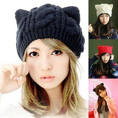Women Winter Beanie Devil Horns Cat Ear Crochet Braided Knit Ski Wool Cap Hat Ne