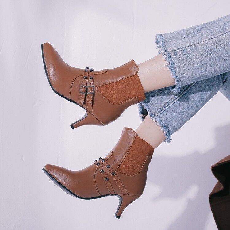 Women's High heels Stilettos Pointed toe Buckle Punk PU Leather Ankle Boots sz