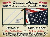 Flag Pole Kit: Outdoor Flag Pole Kit Includes Us Flag Made In Usa, Flagpole And