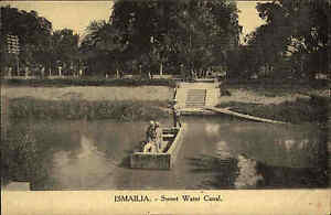 Ismailia-Agypten-Afrika-1910-Sweet-Water-Canal-Faehre-Africa-Vintage-Postcard