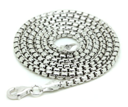 .925 Sterling Silver Round Box Chain Italy Necklace Mens Link
