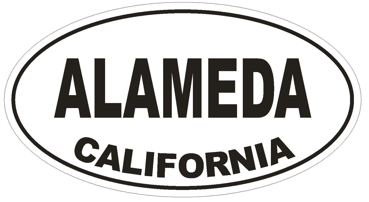 Alameda California Oval Bumper Sticker or Helmet Sticker D2845 Euro Oval