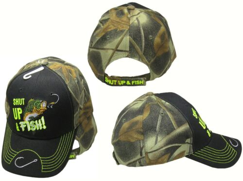 Shut Up and Fish Fishing Hook on Bill Camo Black Embroidered Cap CAP940 Hat