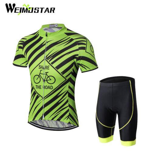 Weimostar New Men/'s Short Sleeve Cycling Jersey Sets Bib Shorts Breathable Green