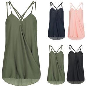 ba819e10b1b1 Women Plus Size Sleeveless Tank Top Vest T-Shirt Tee Chiffon Daily ...