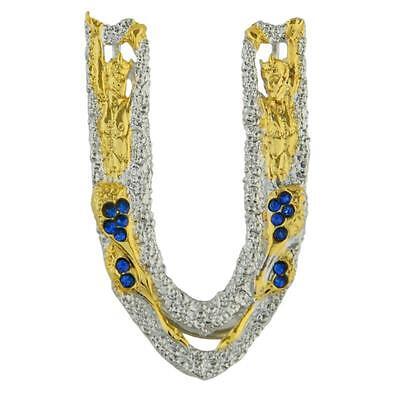 """Erte Design!  Letter """"U"""" Pendant/Brooch! Gold-Plated Sterling Silver W/Crystals"""