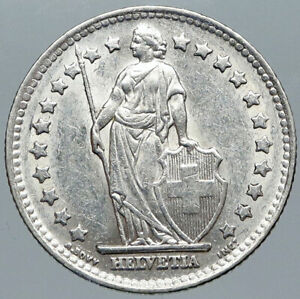 1952 B SWITZERLAND HELVETIA Symbolizes SWISS Nation SILVER 1 Franc Coin i88469