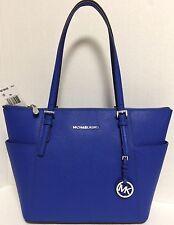 NEW Michael Kors Jet Set E/ W Electric Blue Saffiano Leather Tote Handbag $248
