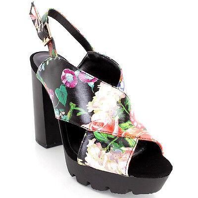 Qupid Black Floral Open toe Slingback Sandal Chunky Heel Lug sole Women's shoes