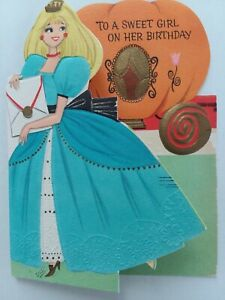 1961-Vtg-CINDERELLA-amp-PUMPKIN-Coach-Fold-out-Embossed-BIRTHDAY-GREETING-CARD