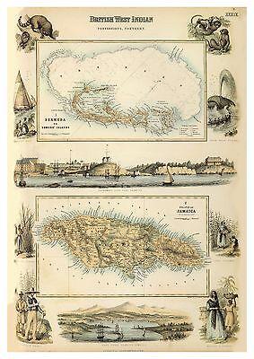 Old Vintage Decorative Map of Bermuda Jamaica Caribbean Sea Fullarton 1872