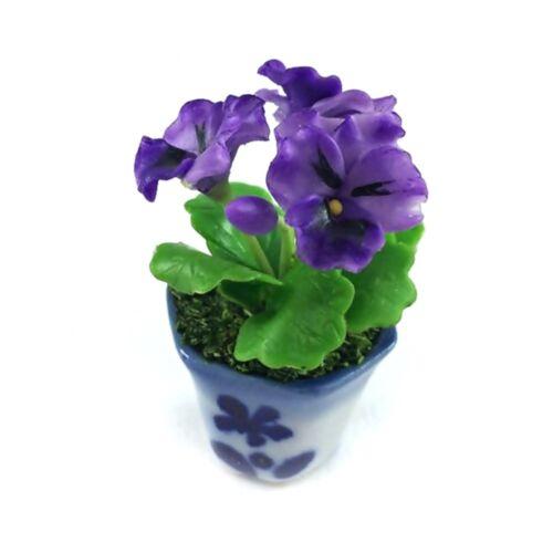 Purple Pansy Clay Flower Ceramic Pot Dollhouse Miniature Tiny Handmade