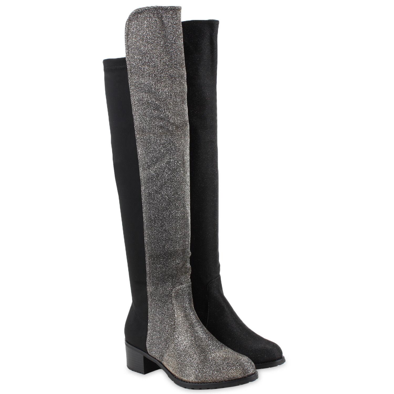 Damen Stiefel Overknees Langschaft  botas Glitzer  zapatos  Langschaft 77163 New Look a0c19c
