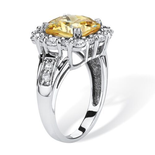 3.62 TCW Canary CZ Halo Ring Platinum over .925 Silver