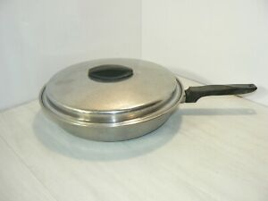 FLINT-EKCO-STAINLESS-STEEL-10-034-SKILLET-FRY-PAN-WITH-LID-HEAVY-DUTY-034-USA-MADE-034