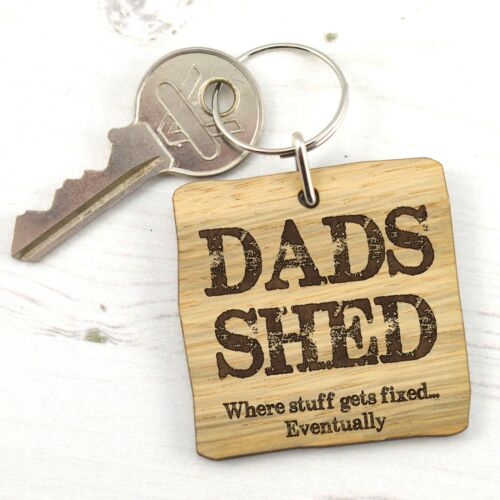Wooden Keyring Gift Keychain Idea Dads Shed Where Stuff Gets Fixed Eventually