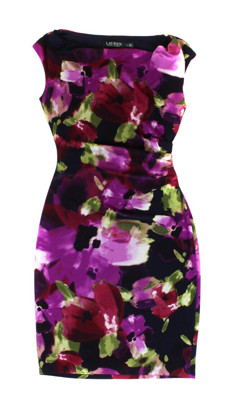Lauren Ralph Lauren Woherren schwarz Floral Droop Neck Lined Dress Ret  New