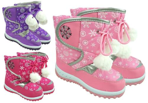 Girls Winter Fleece Lined Snowflake Pom Pom Snow Boots Shoe Sizes 3 to 10