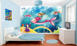 3D Witch Pink Fish 87 Wall Paper Murals Wall Print Wall Wallpaper Mural AU Kyra
