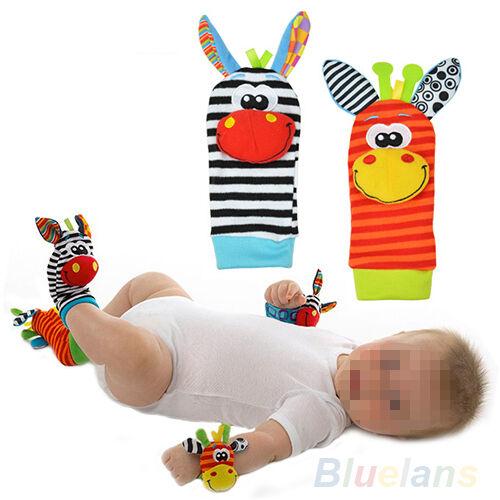 2X Soft Foot Sock Wristband Rattles Developmental Toy For Infant Baby Kids Boy
