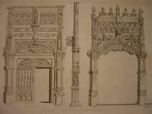 Gravure Eglise de BROU Portes du Choeur - France - Période: XIXme et avant - France