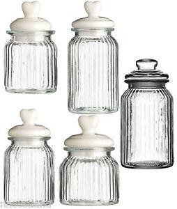 Ribbed Glass Storage Kitchen Tea Coffee Sugar Jars with Heart Design ...