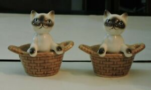 Pair-of-Porcelain-Siamese-Cats-in-a-Basket-Miniatures-Blue-Eyes-from-Korea