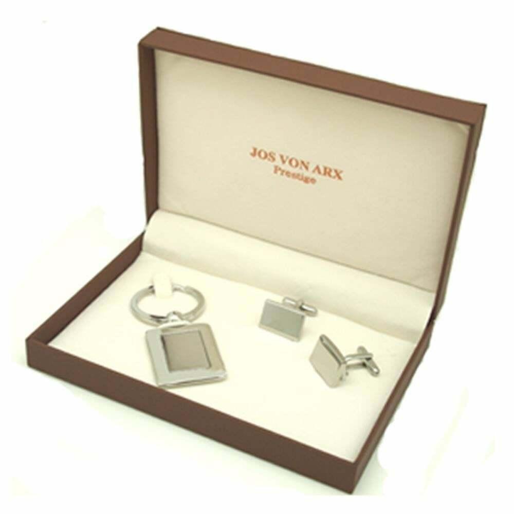 Jos Von Arx Executive 2 Piece Gift Set Engravable Cufflinks Keychain EX19
