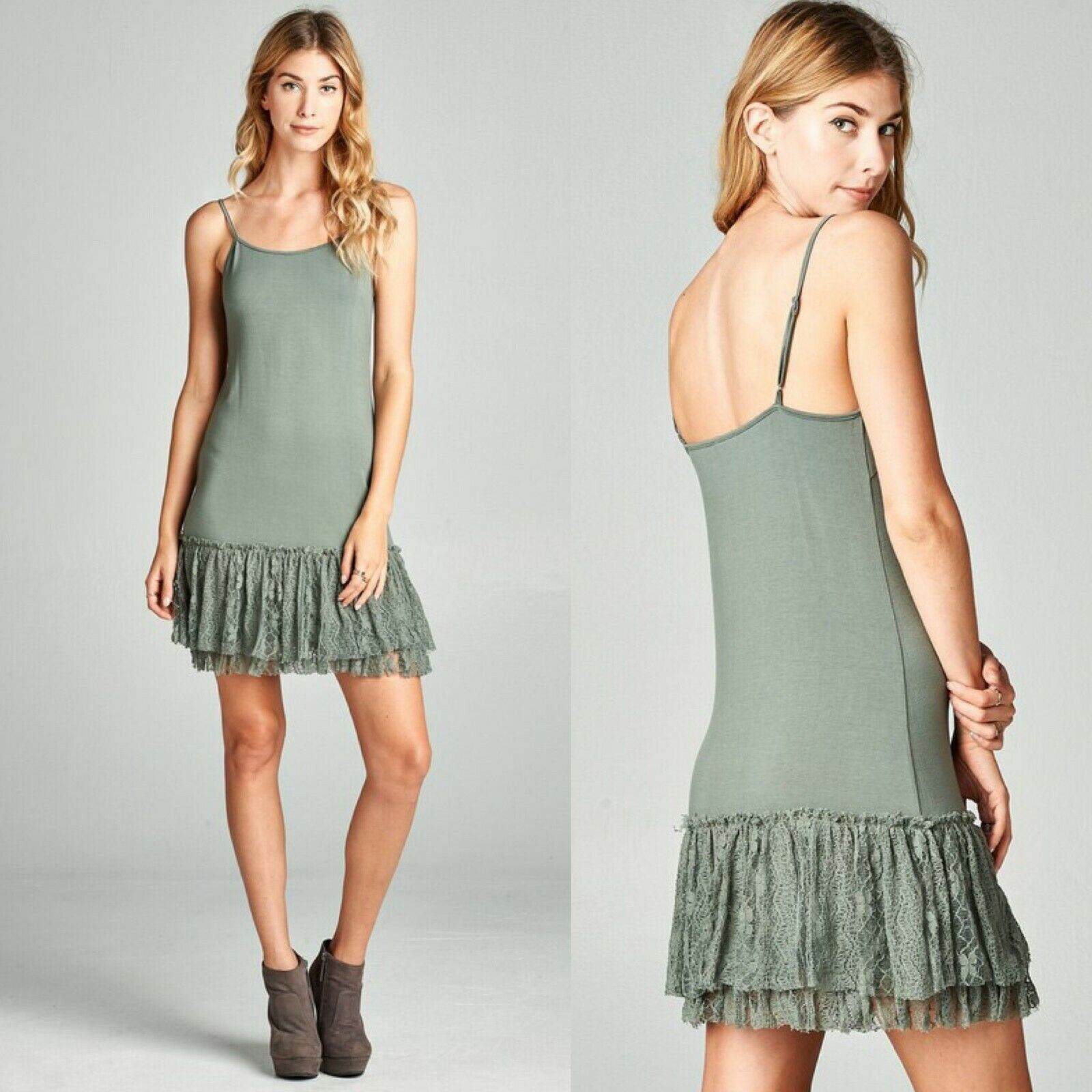 Olive Green Lace Dress Extender Slip Knit Cami Tank Dress Liner ODDI