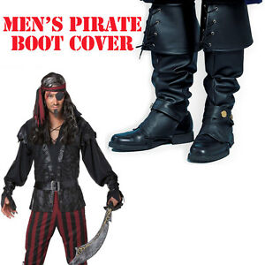 Boot-Tops-Pirate-Costume-Accessory-Black-Adult-Men-039-s-Buccaneer-Shoe-Covers