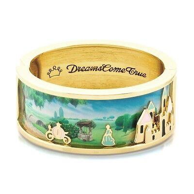 Disney Official Cinderella Gold & Enamel Magic Castle Scene Wide Bangle