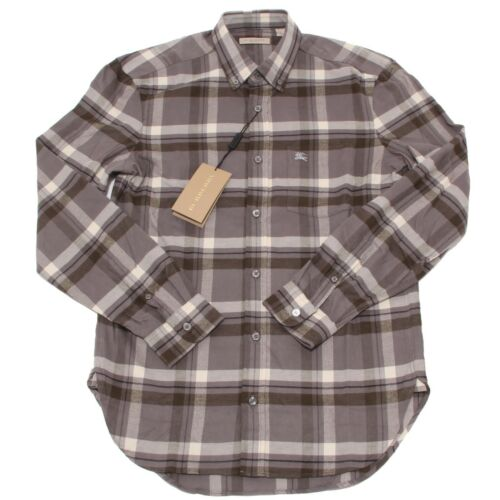 4524O camicia uomo felpata BURBERRY BRIT for winter greygreen shirt men
