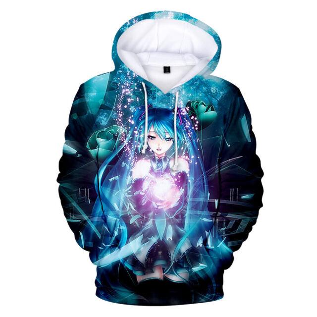Anime Vocaloid Hatsune 3d Print Mens  hoodies Sweater Sweatshirt  Pullover Tops