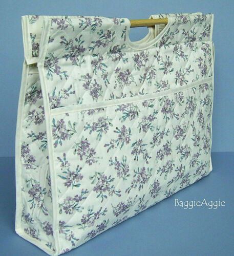 Large Knitting Bag Wooden Handles Sewing Cross Stitch Storage Gift for Knitter