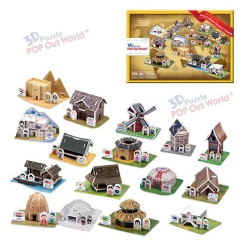3D Puzzle 16 Häuser verschiedener Länder und Trachten