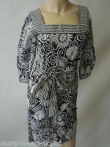 Ladies Black/White Flower Print Square Neck Cotton Mini Dress UK 8 EU 36