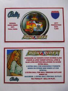 * 'NIGHT RIDER' Bally 1977 Custom Instruction/Apron Cards * (New)