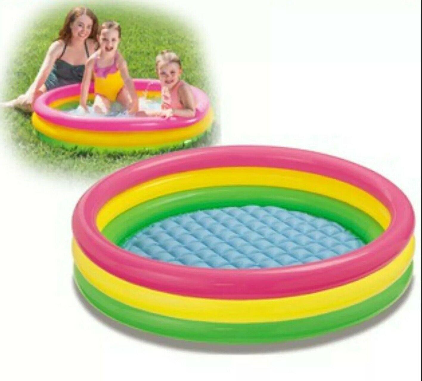 Inflatable Rainbow Sunset Paddling Pool Kids Swimming Bath Tub Water Activity